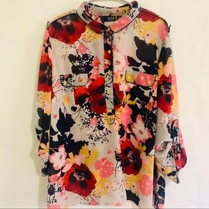 A.N.A floral 2X career dress blouse 3/4 sleeves